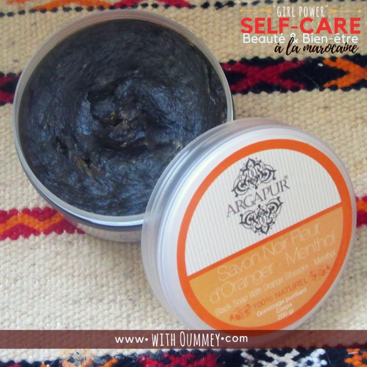 Savon noir ingrédients liste composition Self Care Beauté et Bien être à la marocaine testing Argapur products www.withoummey.com with Oummey